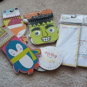 Assorted in used notepads and 2 sets of Christmas